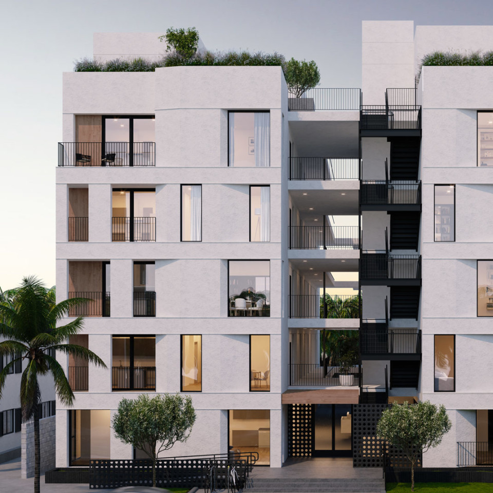 apartment rendering chamfered facade